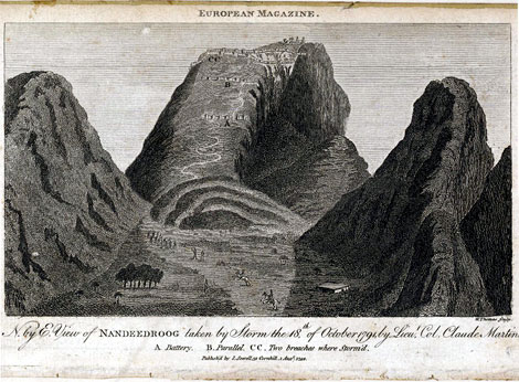 Engraving of a north by east view of Nandidrug in Karnataka by W. Thomas after an original drawing by Lieutenant Colonel Claude Martin published for the European Magazine in 1792. The fort of Nandidrug is situated on top of an imposing perpendicular rock 1,500 feet high. In the time of Haidar Ali (r.1761-1782) and Tipu Sultan (r.1782-1799) the fort was encircled by a double line of ramparts. Although it was considered impregnable, the fortress was stormed and taken by British troops led by Lord Cornwallis on the 18th of Oct 1791.