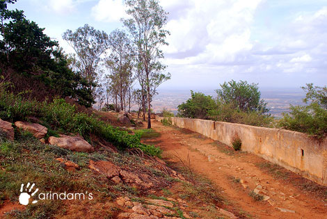 Road along with the fort wall - Nandi Hills (Nandidurg), Chikkaballapur.