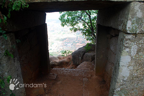 Secret Escape Route - A secret passage on the west, is believed to have helped the Kings to escape during unforeseen attacks - Nandi Hills, Chikkaballapur.